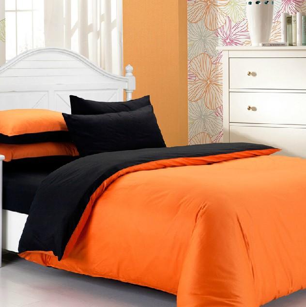 Спално бельо ранфорс черно/оранж